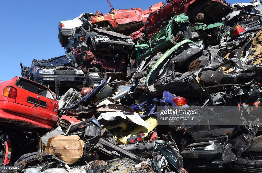Car wrecks are pictured at a scrap yard in Fuerstenfeldbruck ...
