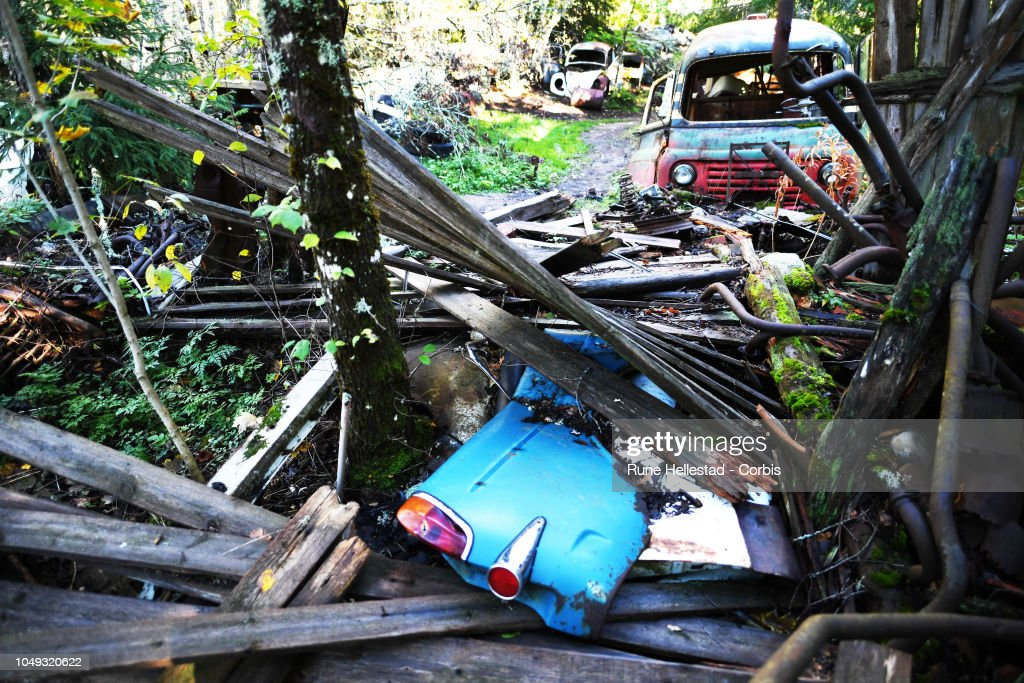 Car wrecks at Ivansson's Car Cemetery on October 3, 2018 in