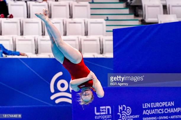 Cara Albiez of Austria competing at the Team Event Final during the LEN European Aquatics Championships 1m Springboard Preliminary at Duna Arena on...