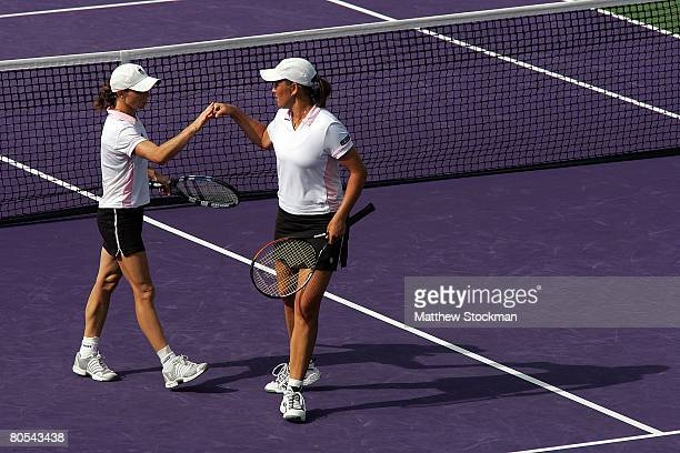 Cara Black and Liezel Huber play against Katarina Srebotnik and Ai Sugiyama during the women's doubles final on day fourteen of the Sony Ericsson...