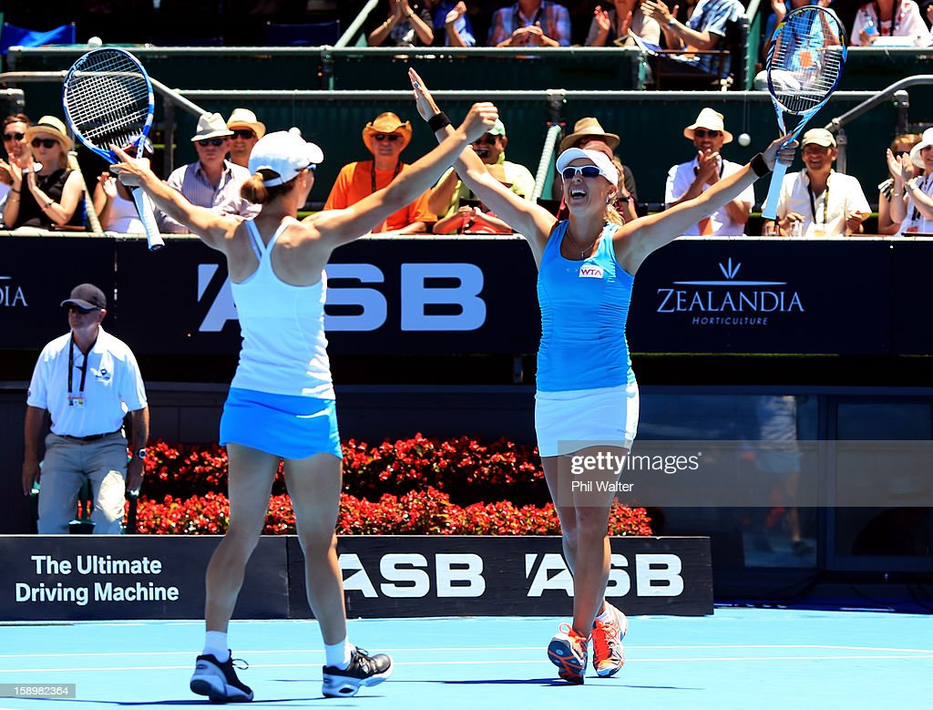 Cara Black (L) of Zimbabwe and Anastasia Rodionova of Australia (R) celebrate their doubles final win against Julia Goerges of Germany and Yaroslava Shvedova of Kazakhstan during day six of the 2013 ASB Classic at the ASB Arena on January 5, 2013 in Auckland, New Zealand.