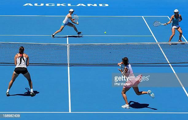 Cara Black of Zimbabwe and Anastasia Rodionova of Australia make a return back to Julia Goerges of Germany and Yaroslava Shvedova of Kazakhstan in...