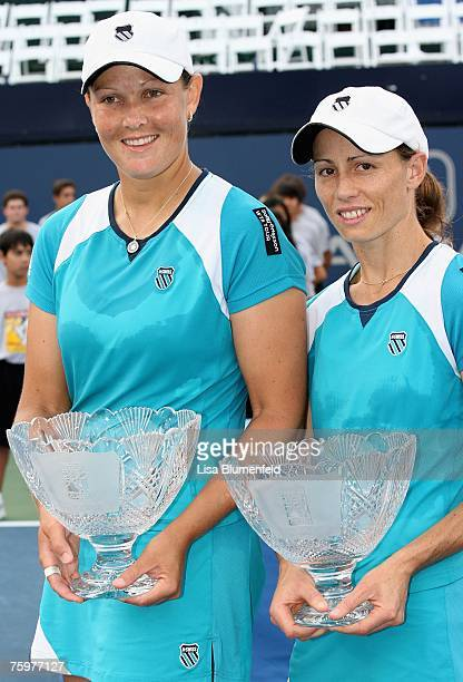 Cara Black of Zimbabwe and Liezel Huber of South Africa celebrate with their trophies after the Day 7 final doubles match of the Acura Classic...