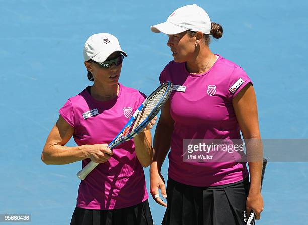 Cara Black of Zimbabwe and Liezel Huber of the USA during their doubles final against Natalie Grandin of South Africa and Laura Granville of the USA...