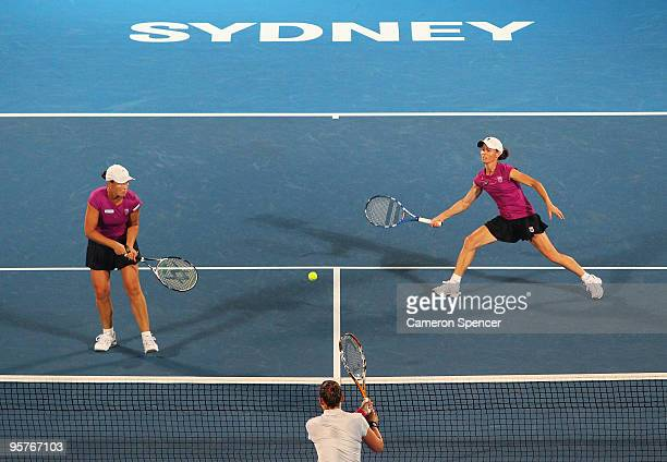 Cara Black of Zimbabwe and Liezel Huber of the USA during their womens doubles match against Laura Granville of the USA and Abigail Spears of the USA...