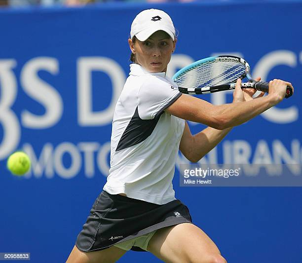 Cara Black of Zimbabwe plays a backhand during her victory over Elena Baltacha of Great Britain during the Hastings Direct International Tennis...