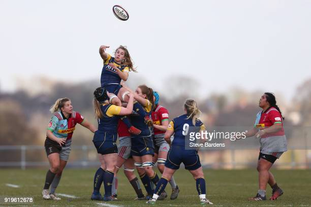 Cara Brincat of Worcester Valkyries wins a line out during the Tyrrell's Premier 15s match between Harlequins Ladies and Worcester Valkyries at...