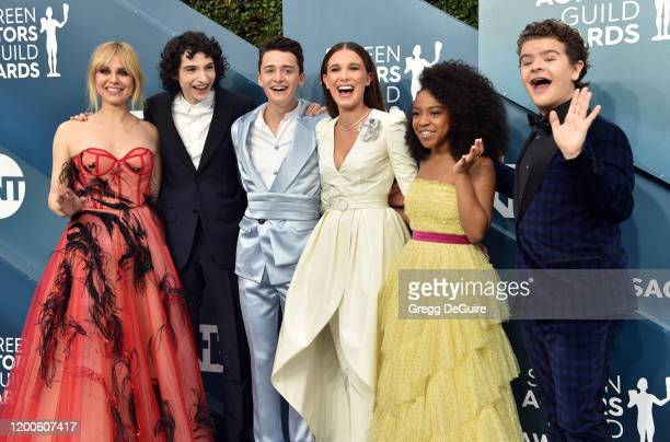 Cara Buono Finn Wolfhard Noah Schnapp Millie Bobby Brown Priah Ferguson and Gaten Matarazzo attend the 26th Annual Screen Actors Guild Awards at The...
