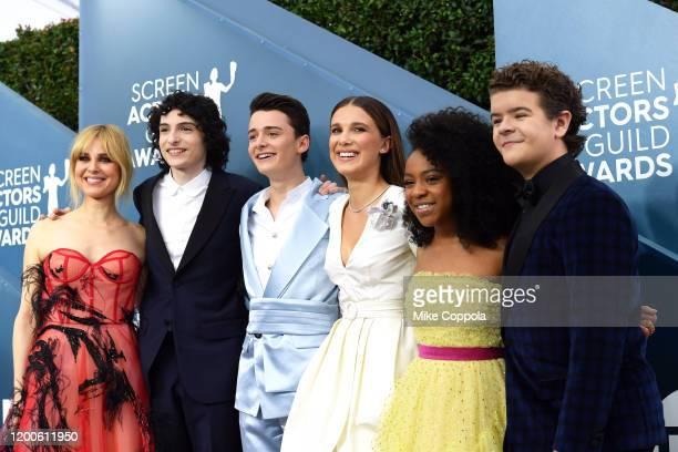 Cara Buono, Finn Wolfhard, Noah Schnapp, Millie Bobby Brown, Priah Ferguson, and Gaten Matarazzo attends the 26th Annual Screen ActorsGuild Awards...
