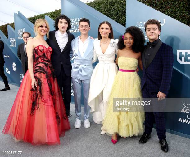 Cara Buono Finn Wolfhard Noah Schnapp Millie Bobby Brown Priah Ferguson and Gaten Matarazzo attends the 26th Annual Screen ActorsGuild Awards at The...