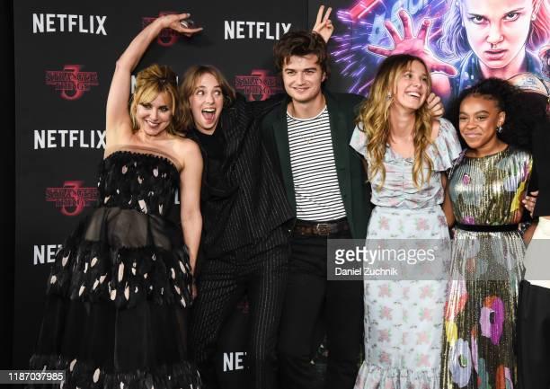 Cara Buono Maya Hawke Joe Keery Millie Bobby Brown and Priah Ferguson attend the New York Screening of Stranger Things Season 3 at DGA Theater on...