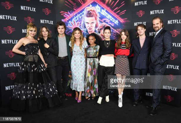 Cara Buono Maya Hawke Joe Keery Millie Bobby Brown Priah Ferguson Carmen Cuba Natalia Dyer Charlie Heaton and David Harbour attend the New York...