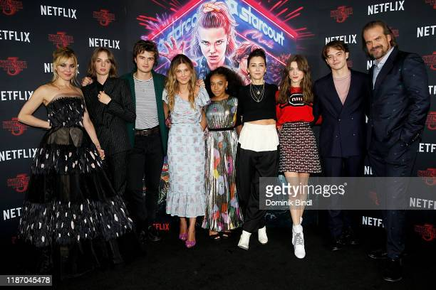 Cara Buono Maya Hawke Joe Keery Millie Bobby Brown Priah Ferguson Carmen Cuba Natalia Dyer Charlie Heaton and David Harbour attend a screening of...