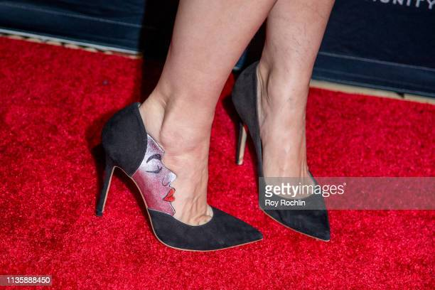 Cara Buono shoe detail attends the 2019 Adapt Leadership Awards at Cipriani 42nd Street on March 14 2019 in New York City