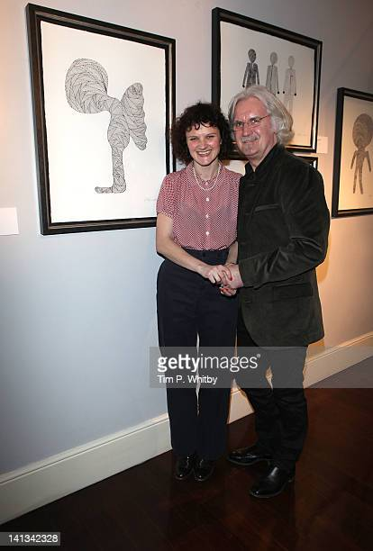 Cara Connolly and Billy Connolly at a private view of Billy Connollys debut art collection of fine art pen and ink drawings at The Halcyon Gallery...