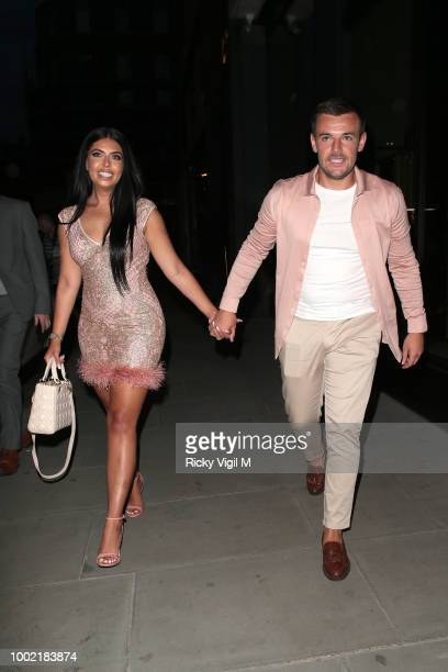 Cara De La Hoyde and Nathan Massey seen attending the ITV Summer Party at Nobu Hotel in Shoreditch on July 19 2018 in London England