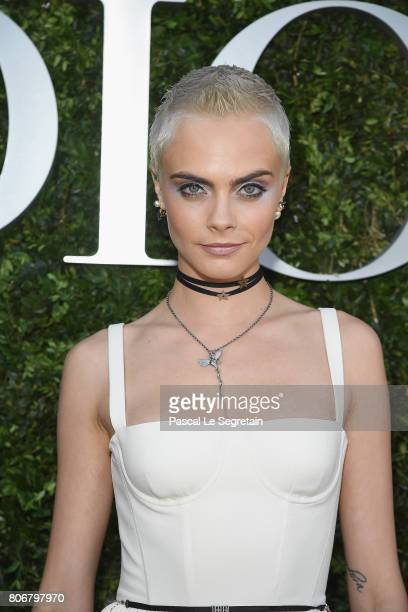 Cara Delevigne attends 'Christian Dior couturier du reve' Exhibition Launch celebrating 70 years of creation at Musee Des Arts Decoratifs on July 3...
