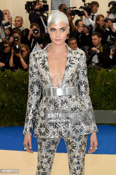Cara Delevigne attends the Rei Kawakubo/Comme des Garcons Art Of The InBetween Costume Institute Gala at Metropolitan Museum of Art on May 1 2017 in...