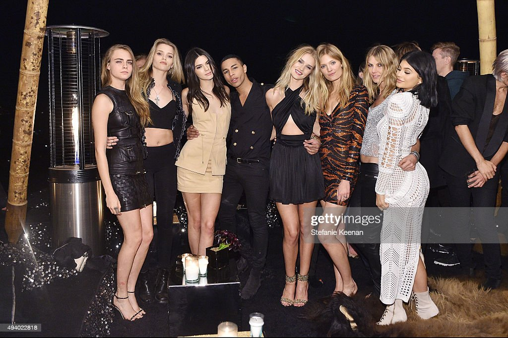 Cara Delevingne, Abbey Lee Kershaw, Kendall Jenner, Olivier Rousteing, Rosie Huntington-Whiteley, Constance Jablonski, Angela Lindvall and Kylie Jenner attend Olivier Rousteing & Beats Celebrate In Los Angeles at Private Residence on October 23, 2015 in Los Angeles, California.