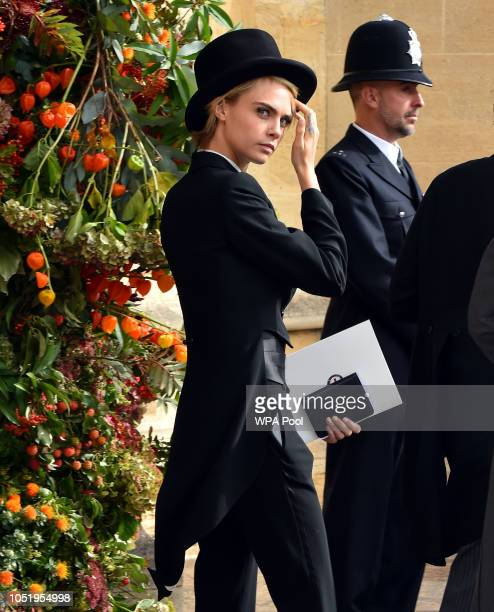 Cara Delevingne after the wedding of Princess Eugenie to Jack Brooksbank at St George's Chapel in Windsor Castle on October 12 2018 in Windsor England