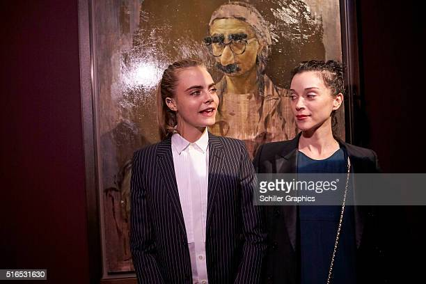 Cara Delevingne and Annie Clark attend the 'Jonathan Yeo Portraits' exhibition opening at the Museum of National History at Frederiksborg Castle on...