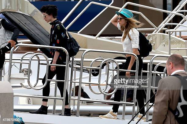 Cara Delevingne and Annie Clark during the 68th Annual Cannes Film Festival on May 19 2015 in Cannes France