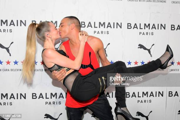 Cara Delevingne and Balmain Creative Director Olivier Rousteing attend PUMA x Balmain created with Cara Delevingne LA Launch Event at Milk Studios on...