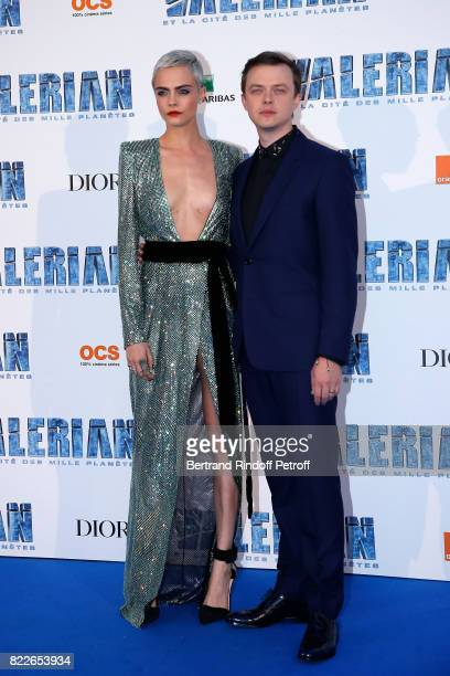 Cara Delevingne and Dane DeHaan attend 'Valerian and the City of a Thousand Planets' Paris Premiere at La Cite Du Cinema on July 25 2017 in...