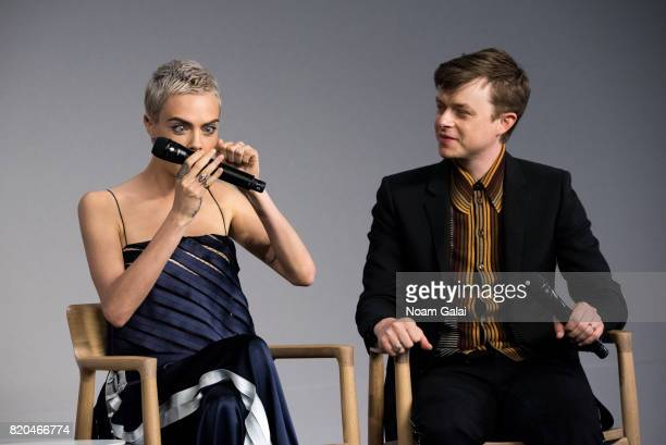Cara Delevingne and Dane DeHaan visit Apple Store Soho to discuss 'Valerian And The City Of A Thousand Planets' on July 21 2017 in New York City