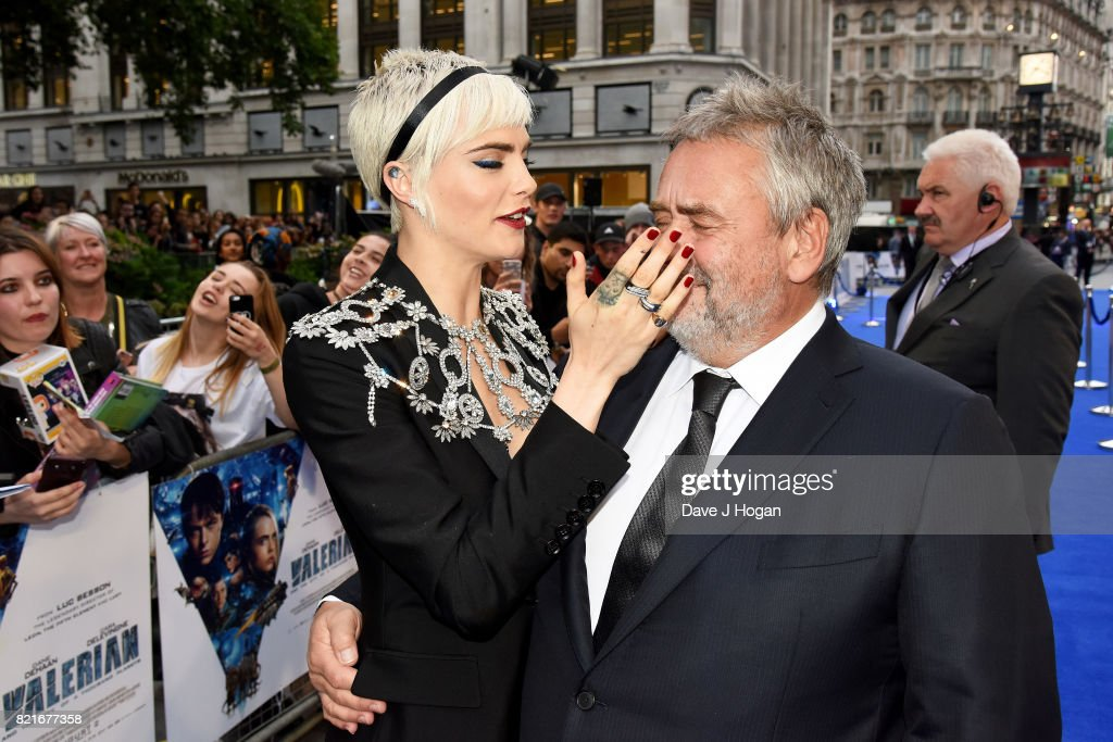 Cara Delevingne and director Luc Besson attend the European premiere of 'Valerian and The City of a Thousand Planets' at Cineworld London on July 24, 2017 in London, England.