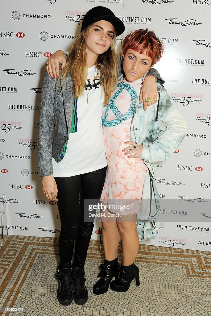Cara Delevingne (L) and Jaime Winstone attend the Marie Claire 25th birthday celebration featuring Icons of Our Time in association with The Outnet at the Cafe Royal Hotel on September 17, 2013 in London, England.