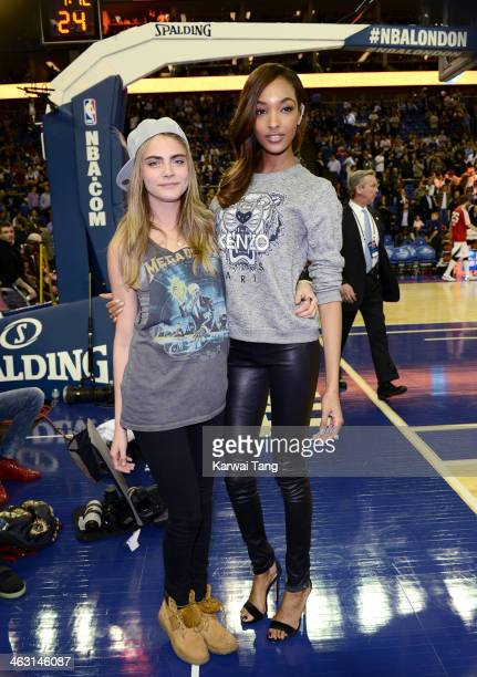 Cara Delevingne and Jourdan Dunn attend the NBA Live basketball match between the Brooklyn Nets and Atlanta Hawks at the 02 Arena on January 16 2014...