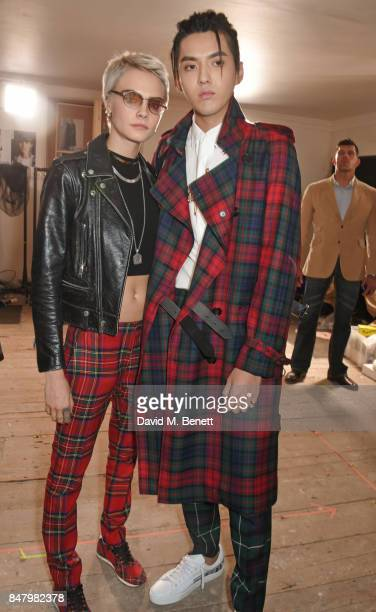 Cara Delevingne and Kris Wu wearing Burberry at the Burberry September 2017 at London Fashion Week at The Old Sessions House on September 16 2017 in...