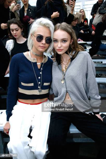Cara Delevingne and LilyRose Depp attend the Chanel show as part of the Paris Fashion Week Womenswear Fall/Winter 2017/2018 on March 7 2017 in Paris...