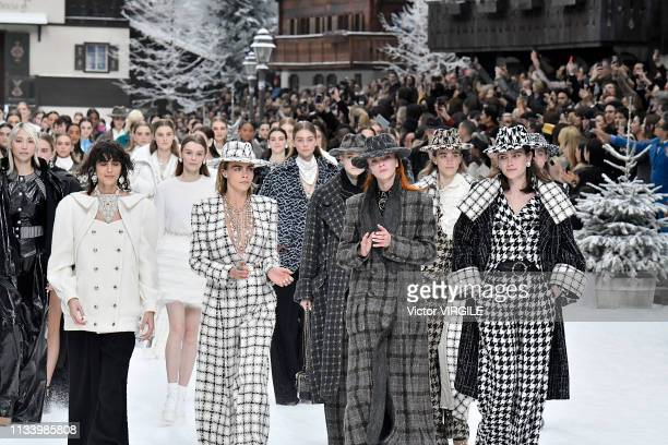 Cara Delevingne and Mariacarla Boscono walk the runway during the Chanel Ready to Wear fashion show as part of the Paris Fashion Week Womenswear...