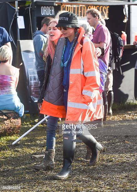Cara Delevingne and Mary Charteris attend Glastonbury Festival 2016 at Worthy Farm Pilton on June 24 2016 in Glastonbury England