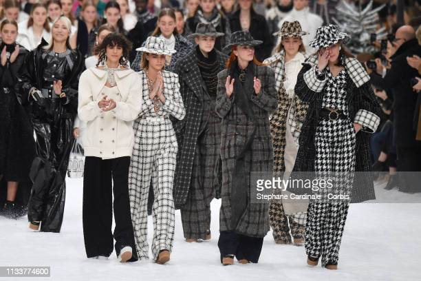 Cara Delevingne and models walk the runway during the Chanel show as part of the Paris Fashion Week Womenswear Fall/Winter 2019/2020 on March 05 2019...