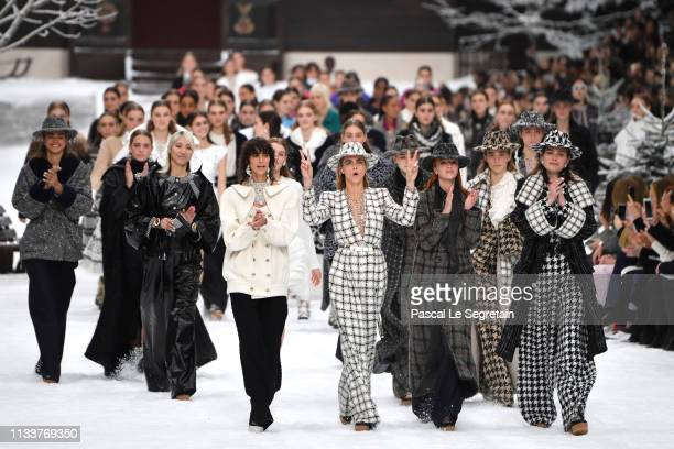 Cara Delevingne and models walk the runway during the finale of the Chanel show as part of the Paris Fashion Week Womenswear Fall/Winter 2019/2020 on...