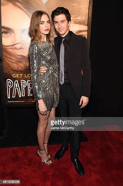 Cara Delevingne and Nat Wolff attend the New York premiere of Paper Towns at AMC Loews Lincoln Square on July 21 2015 in New York City