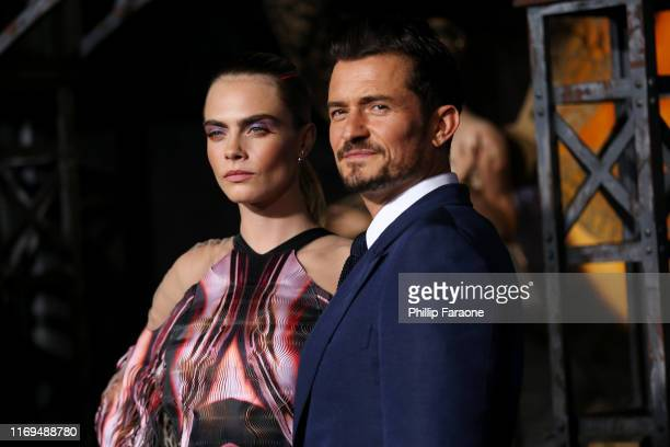 Cara Delevingne and Orlando Bloom attend the LA premiere of Amazon's Carnival Row at TCL Chinese Theatre on August 21 2019 in Hollywood California