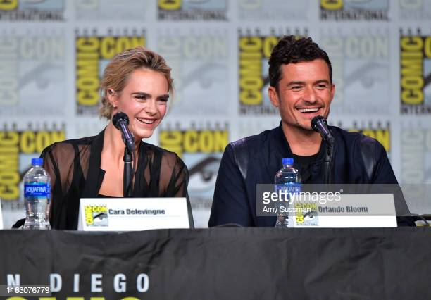 Cara Delevingne and Orlando Bloom speak at the Carnival Row Panel during 2019 ComicCon International at San Diego Convention Center on July 19 2019...