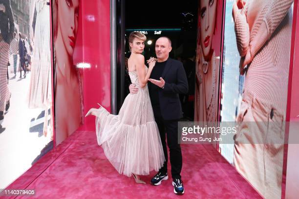 Cara Delevingne and Peter Phillips attend Dior Addict Stellar Shine launch at Layers 57 on April 04 2019 in Seoul South Korea