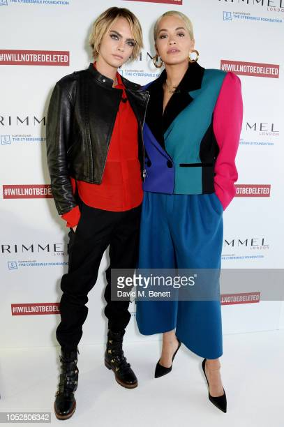 Cara Delevingne and Rita Ora pictured at the launch of #IWILLNOTBEDELETED campaign by Rimmel part of global beauty company Coty to tackle the issue...
