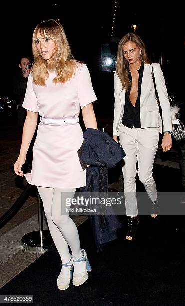 Cara Delevingne and Suki Waterhouse are seen arriving at Harrods Knightsbridge on March 13 2014 in London England
