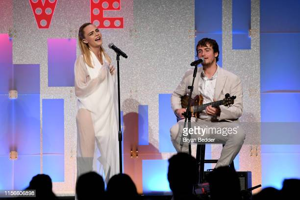 Cara Delevingne and Will Heard perorm onstage during TrevorLIVE NY 2019 at Cipriani Wall Street on June 17 2019 in New York City
