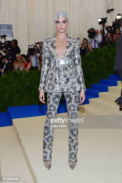 Cara Delevingne arrives at 'Rei Kawakubo/Comme des Garcons Art Of The InBetween' Costume Institute Gala at The Metropolitan Museum on May 1 2017 in...