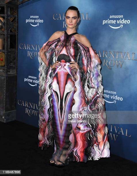 """Cara Delevingne arrives at the LA Premiere Of Amazon's """"Carnival Row"""" at TCL Chinese Theatre on August 21, 2019 in Hollywood, California."""