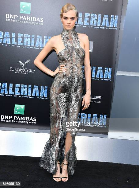 Cara Delevingne arrives at the Premiere Of EuropaCorp And STX Entertainment's Valerian And The City Of A Thousand Planets at TCL Chinese Theatre on...