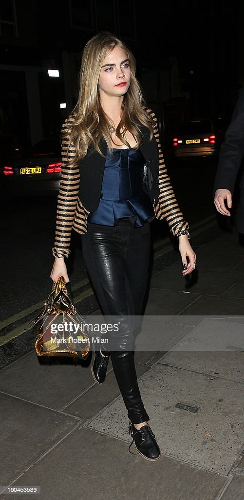 Cara Delevingne at the Groucho club on January 31, 2013 in London, England.