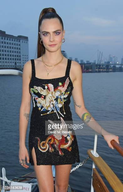 Cara Delevingne attends an intimate dinner hosted by Formula E Founder and Chairman Alejandro Agag following the ABB FIA Formula E Heineken London...